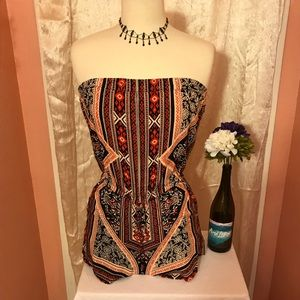 Romper. Strapless top. Shorts. Tribal print